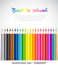 Welcome back to school with Color pencils background-Vector illustration.