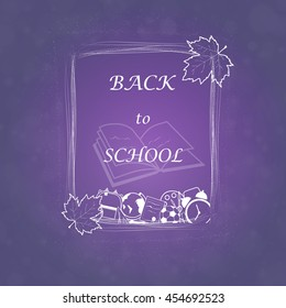 Welcome Back to school concept with frame, school supplies on bright background. design template for banner, poster.  vector illustration.