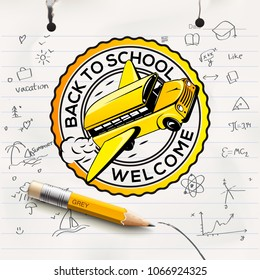 Welcome Back to school concept, school notebook paper sheet, freehand drawing background, vector illustration
