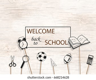 Welcome Back to school concept with school supplies icons on bright wooden  background. design template for banner, poster.  Detailed vector illustration.