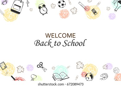 Welcome Back to school concept with school supplies icons, creative elements  on white background. design template for banner, poster. vector illustration.