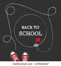 Welcome back to school. Concept with text back to school drawn in chalk on a dark background. Vector illustration of a banner.