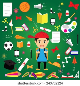 Welcome back to school concept, vector illustration.