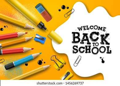 Welcome Back to school design with pencils and typography lettering. Vector School illustration for poster, web, cover, ad, greeting, card, social media, promotion.