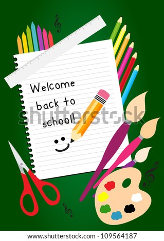 Welcome back school greeting card colorful stock vector royalty welcome back to school greeting card with colorful pencils brushes and ruler m4hsunfo