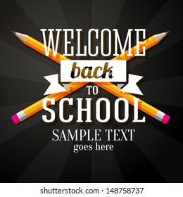 Welcome back to school greeting with two crossed pencils and place for your text. Vector