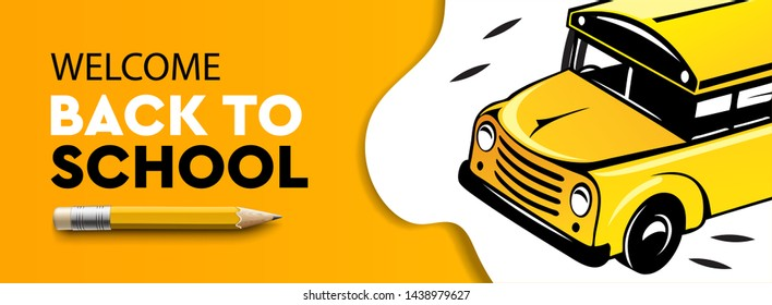 Welcome Back to school horizontal banner, school bus, vector illustration.