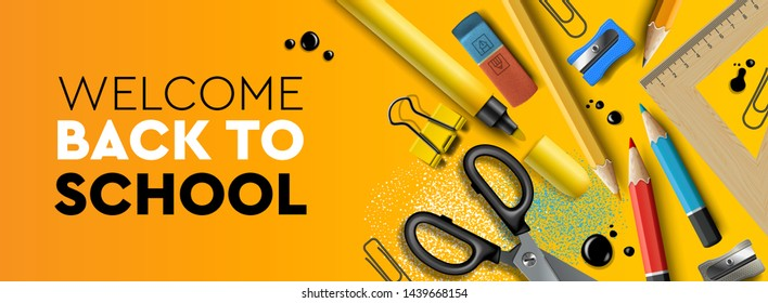 Welcome Back to school horizontal banner. First day of school, pencils and supplies on yellow background, vector illustration.