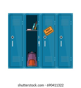 Welcome back to school illustration. Flat vector kids clipart with cupboard with books and backpack. School locker educational design. Colorful interior