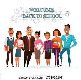 Welcome back to school inviting banner template. School teachers, pedagogues group flat characters. Educational system. Teaching staff. College tutors, educators poster design idea