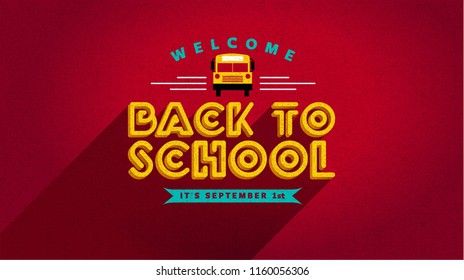 Welcome back to school. Isolated vector element. School bus vector. First day of school logo. Typography template for greeting cards, posters, banners or covers.