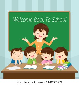 Welcome Back to school kids,education concept, Teacher and Students in front classroom.