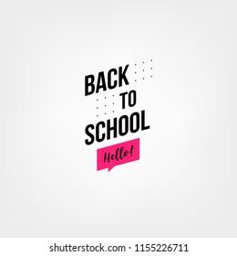 Welcome back to school label. School Background. Back to school sale tag. Vector illustration. Hand drawn lettering badges. Typography emblem set