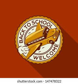 Welcome Back to school label with school bus, vector illustration.