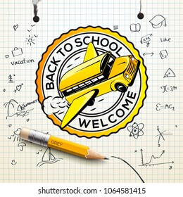 Welcome Back to school logo, checkered paper sheet texture, freehand drawing background, vector illustration.