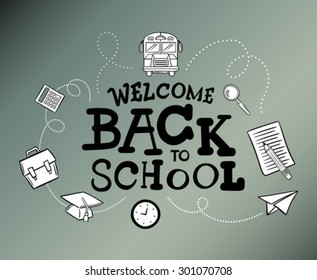 Welcome back to school message surrounded by icons vector against grey background