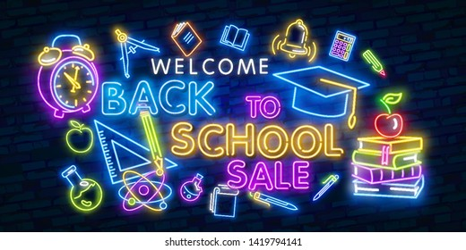 Welcome Back to school neon sign collection vector. Back to school Greeting Card Design template neon sign, light banner, neon signboard, nightly bright advertising, light inscription. Vector