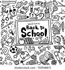 Welcome Back to School poster with doodles,Good for textile fabric design, wrapping paper and website wallpapers,seamless background doodle .Vector hand drawn illustration.