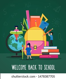 Welcome back to school poster vector illustration. Cartoon people hold book, pencil and pen and stashing scholar supplies in yellow backpack flat style design. First september concept