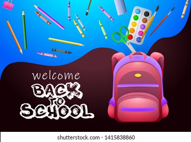 Welcome back to school posters design. Pink backpack, paints, crayons, pencils and school supplies on colorful background. Vector illustration can be used for banners, ads, signs