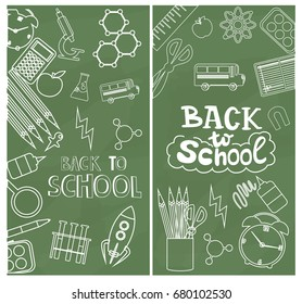 Welcome Back to School posters with school objects. Editable vector  illustration.