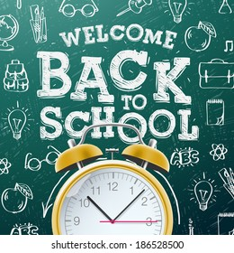 Welcome back to school sale background  with alarm clock, vector illustration.