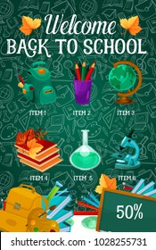 Welcome Back to School sale poster on green chalkboard pattern. Vector school bag, book or paint brush and maple leaf, chemistry copybook or ruler for September autumn seasonal school store discount
