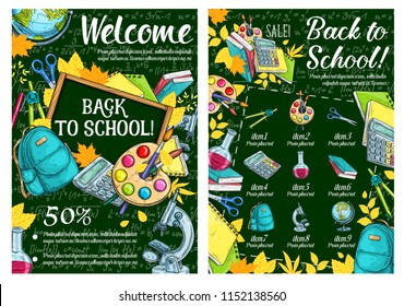 Welcome Back to School sale sketch poster of school lesson stationery on green chalkboard. Vector school bag, book or notebook and mathematics calculator, biology microscope and globe, pen and pencil