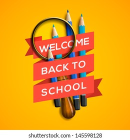 Welcome back to school with supplies on yellow background, vector illustration.