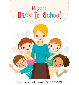 Welcome Back To School, Teacher, Student And Icons, World Book Day, Stationery, Book, Children, School Supplies, Educational Subject