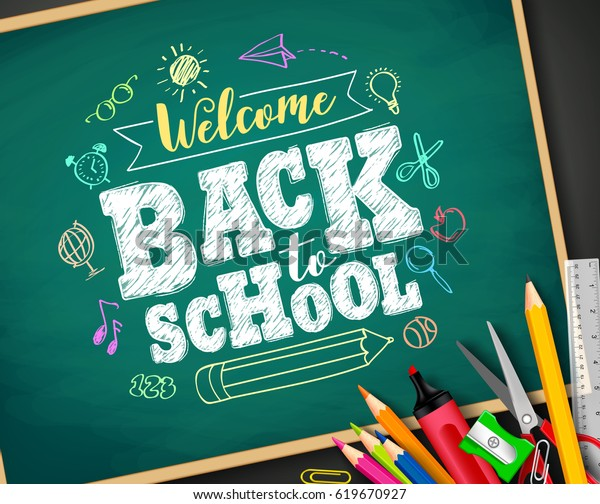 Welcome back to school text drawing by colorful chalk in blackboard with school items and elements. Vector illustration banner.