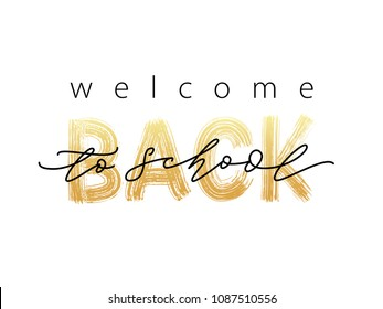 Welcome Back to School Text. Hand drawn brush lettering logo. Template for design, party, high school or college start study day, yearbook. Modern calligraphy. Vector illustration.