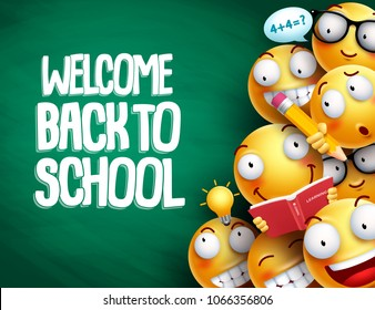 Welcome back to school text and smileys with facial expressions or emoticons students in chalkboard background for education. Vector illustration.