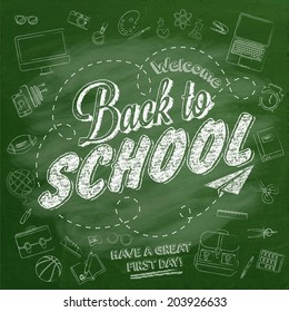 Welcome Back to School Typographical Background On Chalkboard With Icon Elements