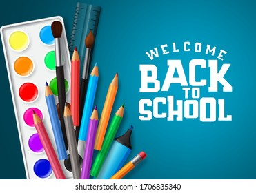 Welcome back to school vector banner design. Welcome back to school text in blue space background with education elements and school items like water color, color pen, brush and ruler.