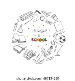 Welcome back to school vector banner, poster .Hand drawn elements. School supplies. Books, notebook, copybook, backpack, lamp, alarm clock, football, snickers, chalkboard, pencil, marker, eraser etc.