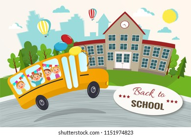 Welcome back to school vector illustration. School bus with kids