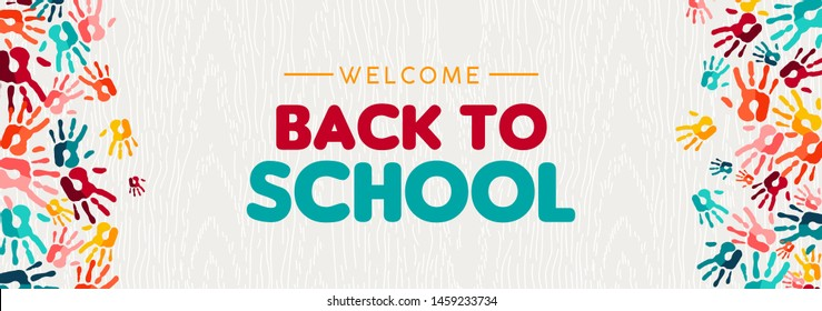 Welcome back to school web banner illustration of colorful children hand print background for diverse education community and creativity.