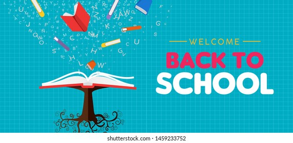 Welcome back to school web banner illustration of open book tree. Reading education concept, class learning for children worldwide.