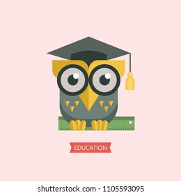 Welcome back to school. A wise owl in an academic cap holds a ruler in its paws. Vector emblem, logo.