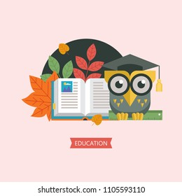 Welcome back to school. A wise owl in an academic cap holds a ruler in its paws. Next to the open book and autumn leaves. Vector emblem, logo.