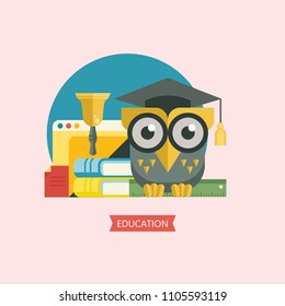 Welcome back to school. A wise owl in an academic cap holds a ruler in its paws. Next stack of books. Vector emblem, logo.