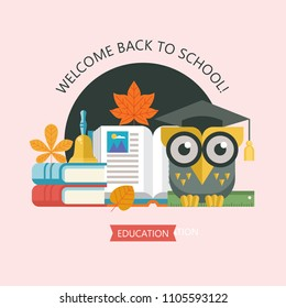 Welcome back to school. A wise owl in an academic cap holds a ruler in its paws. Next to the open book, a stack of books and a school bell. Vector emblem, logo.