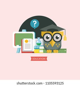 Welcome back to school. A wise owl in an academic cap holds a ruler in its paws. Next to the open book, a blackboard and a chemical flask. Vector emblem, logo.