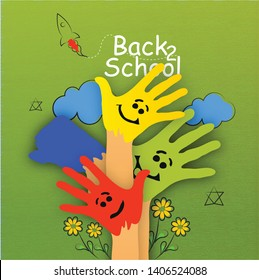Welcome back to school-illustration of schoolboy with notebook,colour hand and teacher background poster- Vector