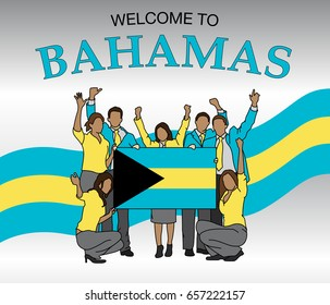 Welcome to Bahamas. Group of people dressed in the colors of the Bahamas flag, waving with hands and holding the flag - Vector image