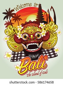 welcome to bali design, with traditional Bali Barong mask