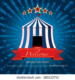 welcome banner with circus tent on blue grunge burst