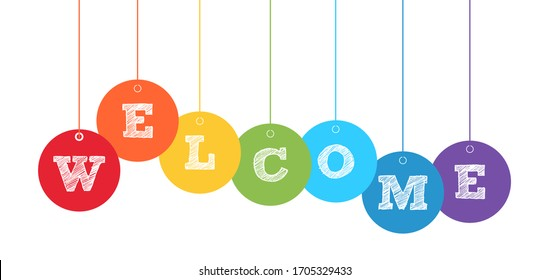Welcome banner with color balls on white. Stock vector illustration