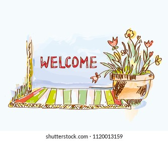 Welcome banner with door and flowers, sketch illustration. Vector graphic